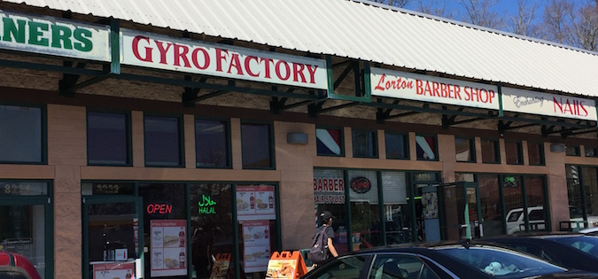 Front of Gyro Factory in Lorton, Virginia