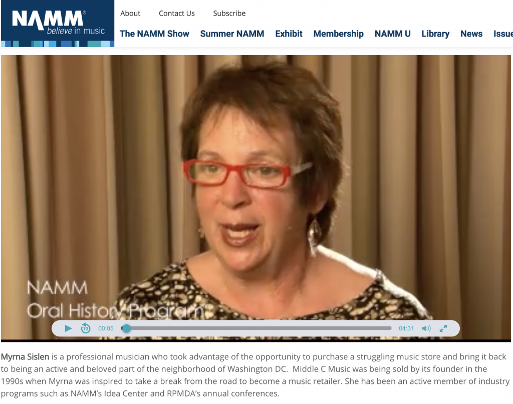 Myrna Sislen's Oral History on NAMM
